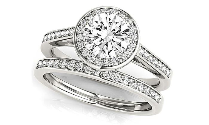 d7b828229d4d Nes 4.12 CTTW Halo Engagement Ring Set - Swarovski Crystals - 2Pc - Size 7