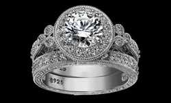 15CTTW 18k White Gold Plated Engagement Ring Set - Size: 7