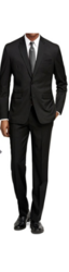 Braveman Men's 2 Pcs Suits with Free Tie & Socks - Black - Size: 40L x 34W