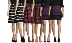 Hutch Striped Full Skirt - Black/Ivory - Size: 4