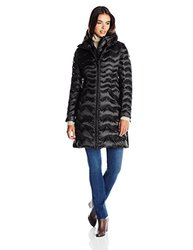 Dawn Levy 2 Women's Karen Chevron Belted Down Coat - Black - Size: Small