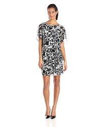S.L. Fashions Women's  Printed Blouson Dress - Black/White/Grey - Size:10