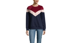 Lucca Long Sleeve Colorblocked Top - Navy Mix - Size: Medium
