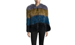 Peri Luxe Knitted Silver Fox and Raccoon Fur Jacket - Multi - Size: Small