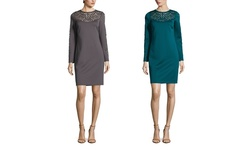 Spense Long Sleeve Sheath Dress with Laser Cut Detail - Carbon - Size: 14