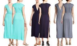 La Class Women's V Neck Maxi Dress with High Slit - Gray - Size: Medium