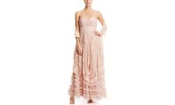 Alberto Makali Women's Strapless Applique Skirt Gown - Pink - Size: 6