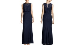 Decode 1.8 High Neck Long Gown - Navy - Size: 4