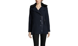 Steve Madden Sherpa Collar Peacoat - Navy/Green Plaid - Size: Small