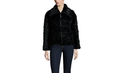 Peri Luxe Knitted Mink Zip Jacket - Black - Size: Small
