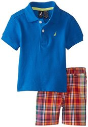 Nautica Baby Boys 2 Piece Pique Solid Polo Plaid Short - Brilliant - 12 Mo