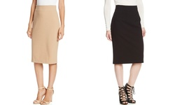 Paniz Banded Straight Skirt with Back Zipper: Black - 6