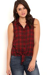 Deb Women's Sleeveless Floral Plaid Print Tank Top - Red - Size: XS