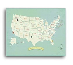 "Children My Travels Personalized USA Map Wall Art Print - Size: 24""x18"""