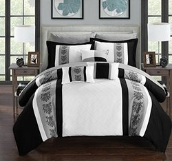 Chic Home 10 Piece Clayton Pin Tuck Pieced Block Embroidery Bed In A Bag Comforter Set with Sheet Set, Queen, White