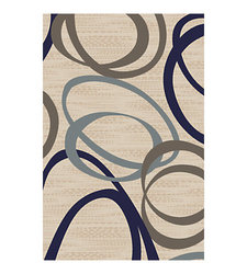 Flagship Carpets Printed Rug, Duo 6'H x 9'W - Natural Blue