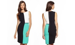 Nue By Shani Sleeveless Novelty Color Block Shift Dress - Aqua - Size: 10