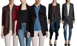 Patrizia Luca Women's Drape Front Tweed Cardigan - Black - Size: Medium