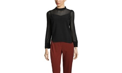 Gracia Long Sleeve Sheer Knit Top - Black - Size: Small