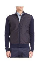 Faconnable Men's Zippered Wool Jacket - Navy - Size: Large