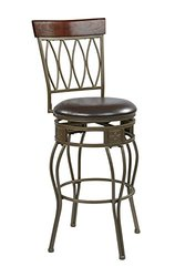 Office Star Cosmo Antique Grey Ash Steel 4-Open Frame and Wood Swivel Barstool with Espresso Faux Leather Seat, 30-Inch