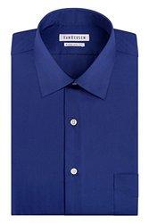 Van Heusen Lux Sateen Spread Collar Dress Shirt - Blue - Size:16 1/2x34/35