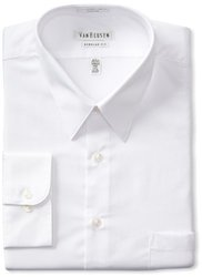 "Men's Classic-Fit Non-Iron Poplin Dress Shirt - White - Size: 16x34-35"""