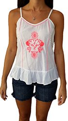 Cotton Express Ruffle Halter Top - White/Coral - Size: Juniors Large