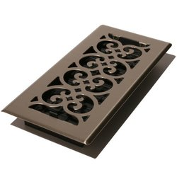 Decor Grates 2-1/4 inch x 14 inch Brushed Nickel Scroll Floor Register