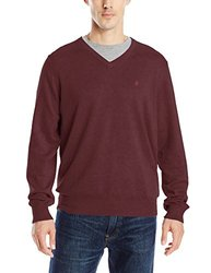IZOD Men's Fine Gauge V-Neck Sweater with Link Stitch Yoke - Fig - Medium