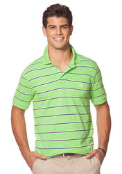 Chaps Men's Striped Pique Polo T-Shirt - Kiwi Lime - Size: Small