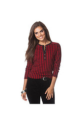 Chaps Women's Checked Lodge Henley T-Shirt - Red/Black - Size: Small