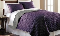 3-Piece Solid Reversible Coverlet Set - Violet/Silver - Size: Queen