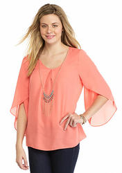 A. Byer Tulip Sleeve Blouse - Coral - Size: Large