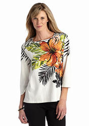 Alfred Dunner Women's Animal Magnetism Floral Top - White Multi - Size: S