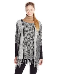 Women's Jacquard Poncho Pullover Sweater - Black/Egret - Size: Large