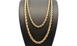 "18"" 14K Gold Plated English Rope Chain Necklace"