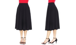Women's Flared Midi Skirt - Black - Size: Small