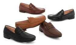 Franco Vanucci Men's Slip-On Dress Loafer Shoes - Black Shiny - Size: 10
