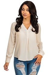 Womens Juniors Nude Chiffon Long-Sleeve Blouse - Khaki - Size: M (40961K)
