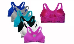 EAG Women's Cotton Padded Sports Bras - 6-Pack - Assorted - 42C