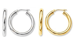 Sterling Silver 14K Gold French Lock Hoop Earrings - White - Size: 20mm