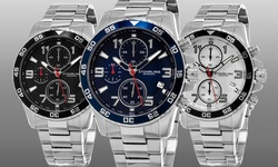 Stuhrling Original Men's Sport Chronograph Aquadiver Watch - Silver (GP15641)