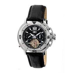 Heritor Lennon Men's Watch: HR2802/Black Band-Black-Silver Dial