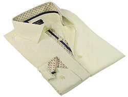 Rosso Milano Men's Modern Fit Dress Shirt - Yellow - Size: XXL