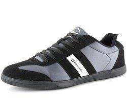Alpine Swiss Haris Men's Suede Trim Striped Athletic Sneakers - Black 13