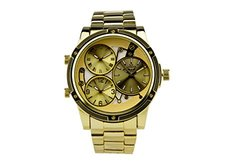 Ny London Gigante Men's 3 Time Zone Watch: 62627832/gold Band-gold Dial