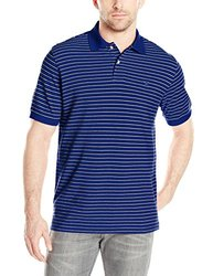IZOD Men's Coastal Prep Striped Pique Polo - Mazarine Blue - Size: 2XL