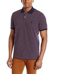 IZOD Men's Coastal Prep Striped Pique Polo - Midnight - Size; 2XL