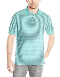 IZOD Men's Coastal Prep Striped Pique Polo - Gulf Stream - Size: 2XL